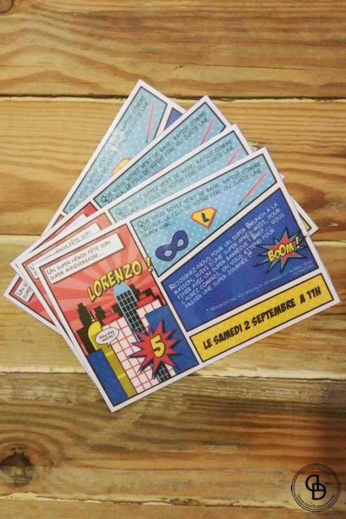 carte invitation decoraly theme super heros