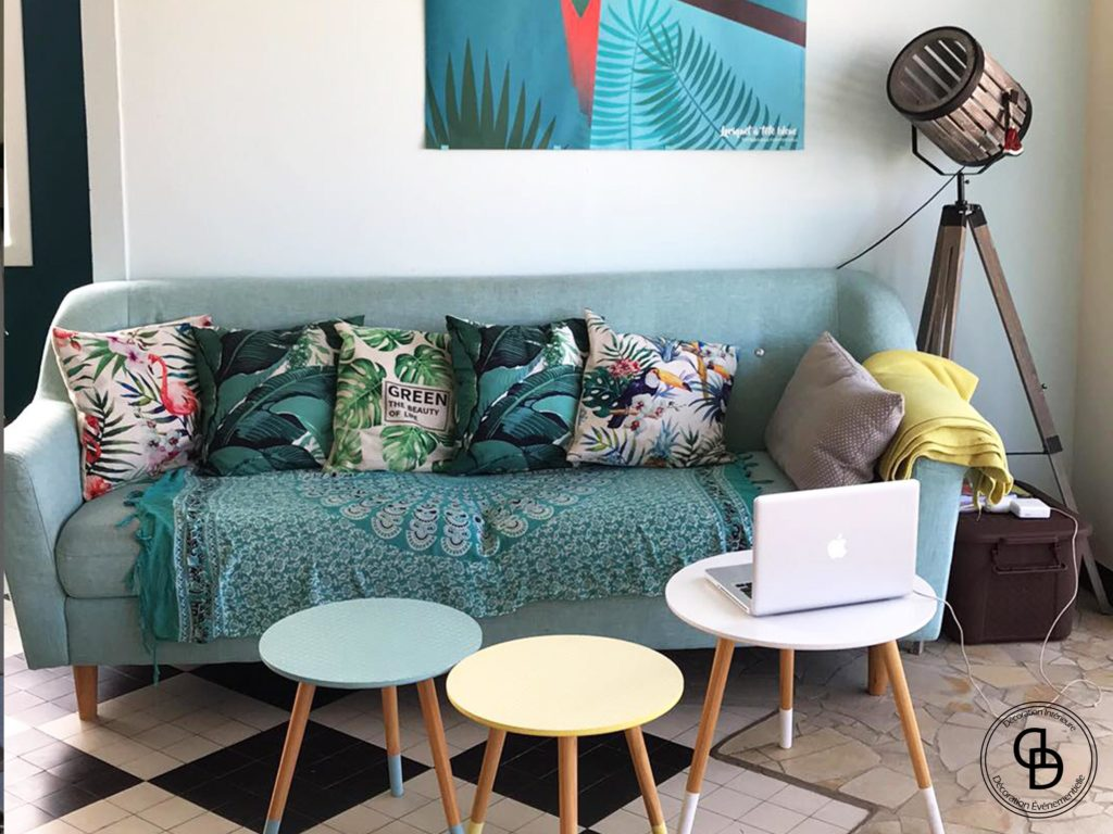 salon décoration bleu tropical
