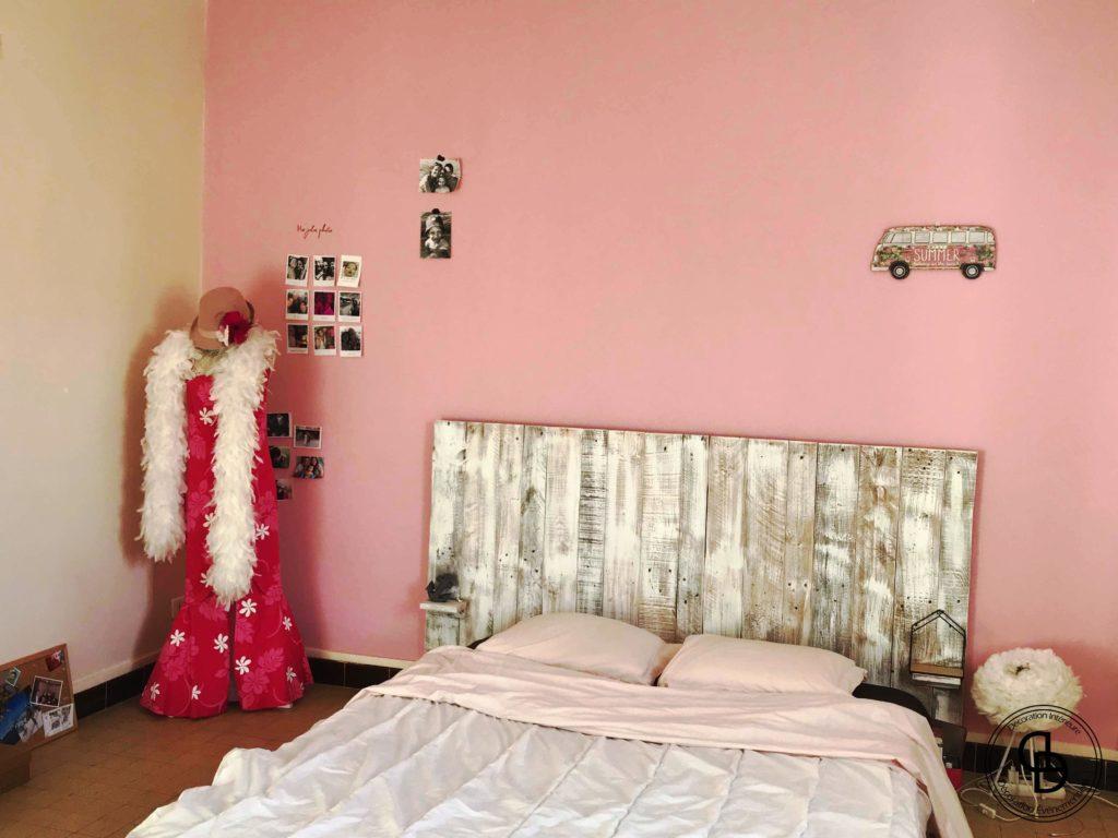 mur rose chambre girly