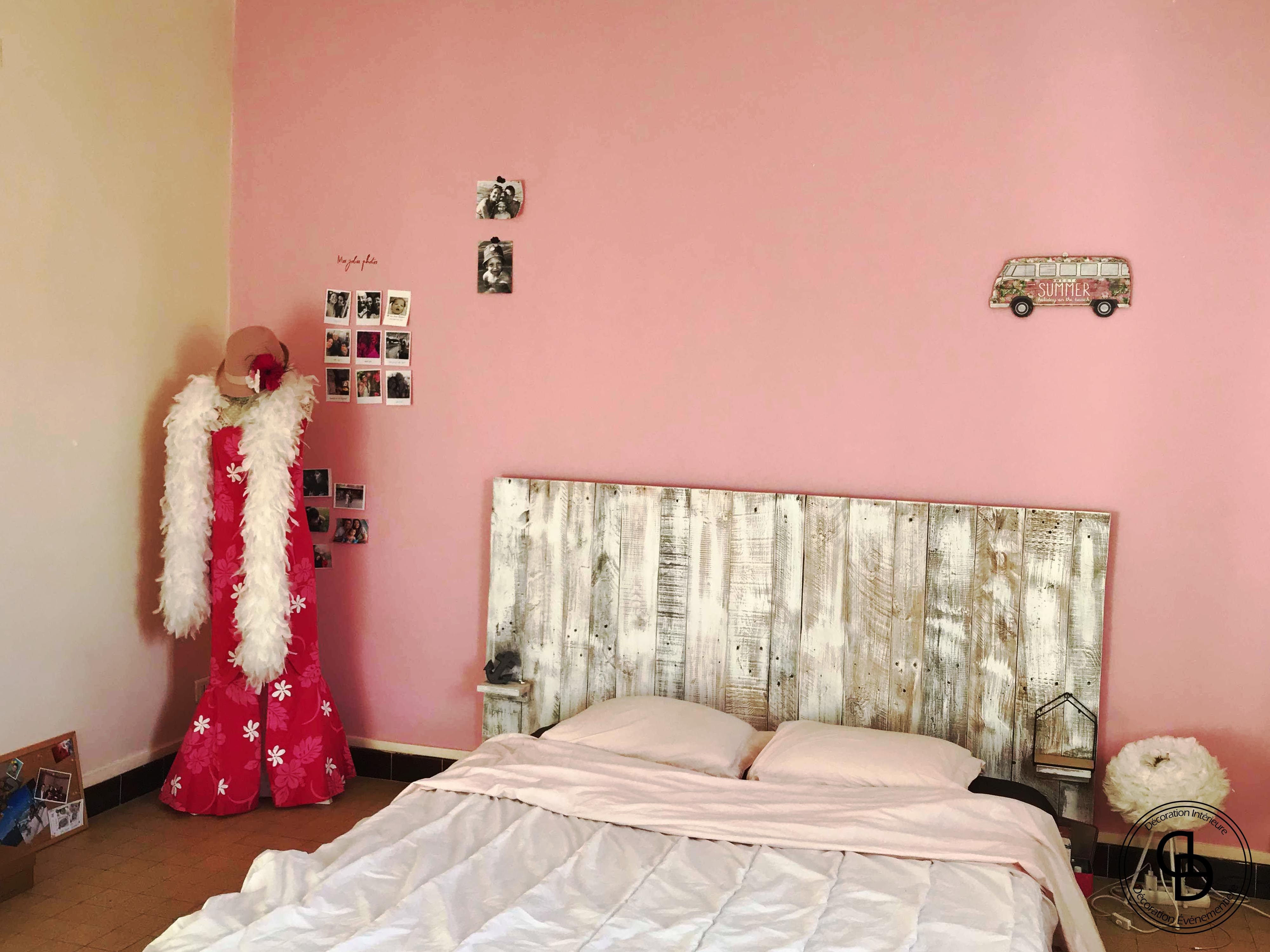 mur rose chambre girly