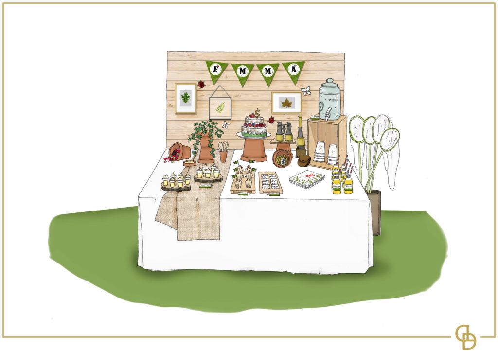 Croquis sweet table par Décoraly