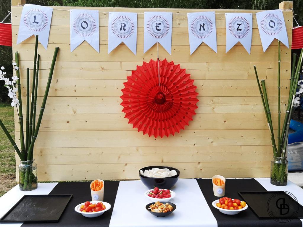 Sweet table décorée pour un buffet salé