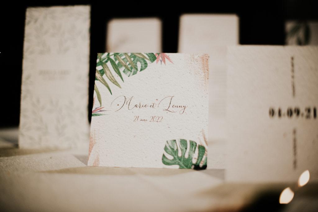 papeterie mariage papier ensemencé